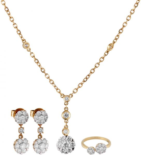 Buy Coronet Women s 18K Yellow Gold Diamond Jewelry Set