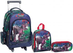 a10e72a0b842 Dinosaur 3-in-1 17 Inch School Trolley Bag with lunch box and pencil case  for boys Set -0190