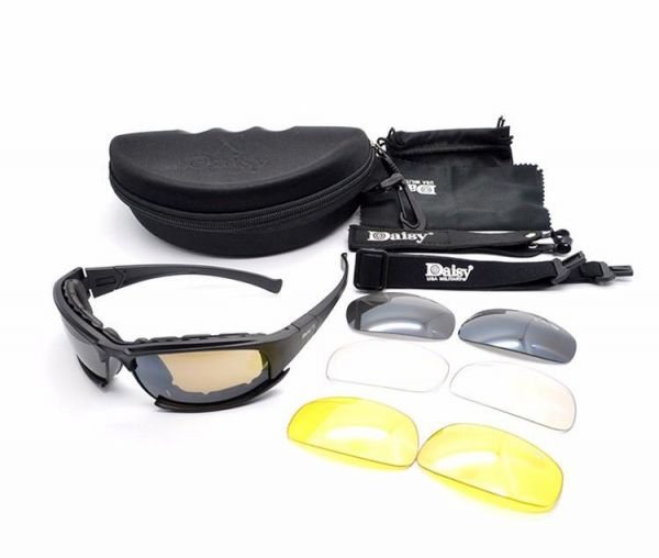 0384a3cb789 Daisy X7 Tactical Military Sports Sunglasses 4 in 1
