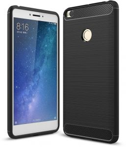 Rugged Armor Xiaomi Mi Max 2 Case with Resilient Shock Absorption and Carbon Fiber Design for Xiaomi Mi Max2 Cover - Black