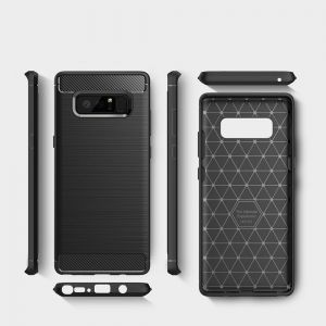 Samsung Galaxy Note 8 Case Silicone Carbon Fiber Soft TPU Slim Brushed black