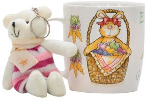 Sale on gift easter gift basket buy gift easter gift basket online easter mug in bunny basket with bear key chain gift set negle Image collections