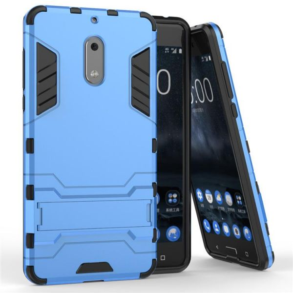 watch 614cb df07f Nokia 6 Iron Man Stent Protective Cover Two-In-One Airbag Anti-Drop Phone  Case - Blue