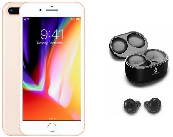 Apple iPhone 8 Plus without FaceTime - 256GB, 4G LTE, Gold + Smart WiPod  True Wireless EarBuds, Black
