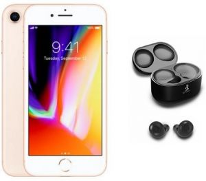 Apple iPhone 8 without FaceTime - 256GB, 4G LTE, Gold + Smart WiPod True  Wireless EarBuds, Black