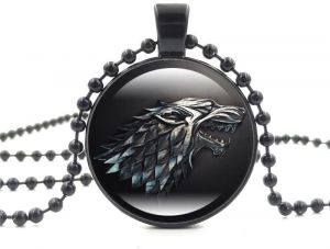 Game of Thrones House Stark of Winterfell Direwolf Sigil Glass Pendant Necklace. Black
