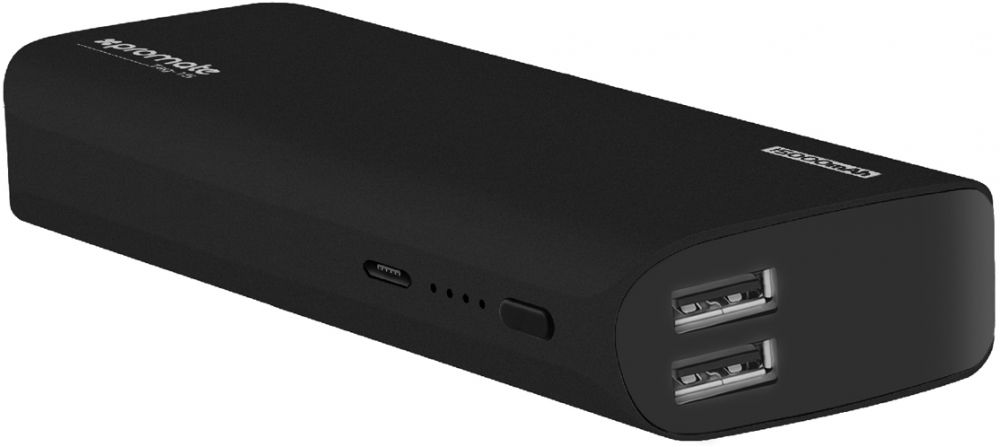 Apple iPhone 8 Plus Travel Power Bank, Lightweight 15000mAh Dual USB Ultra Compact Portable Charger with 4.2A High-Speed Charging for Smartphones, GPS, iPod and Tablets, Promate Tag-15 Black
