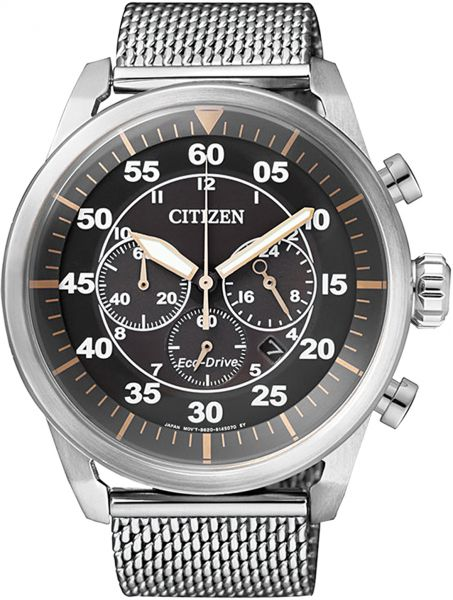 Citizen Men's Black Dial Stainless Steel Band Watch - CA4210-59F