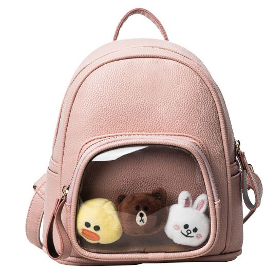 Cute pink Teen backpack Bag for teenage girls bag With Toy KBD ... 52fc00f421095