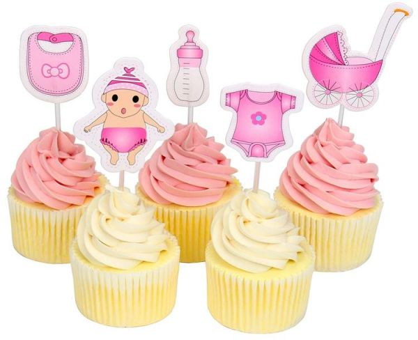 20 Pieces Baby Shower Cupcake Toppers Babyshower Boy Girl