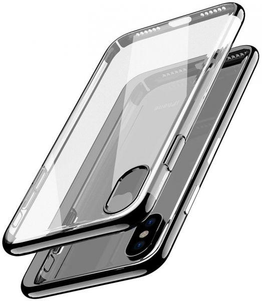 iPhone X Case Clear Flexible Soft TPU Cover- Black