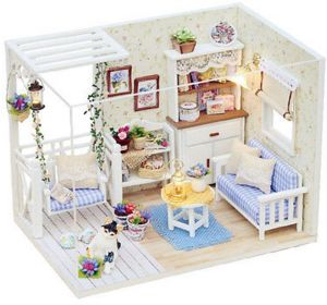 Doll House Furniture Kits DIY Wood Dollhouse Miniature With LED+Furniture+cover  Doll House Room
