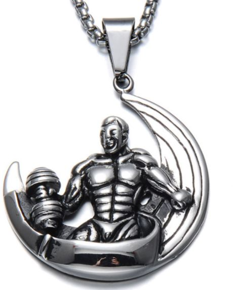 Buy moon muscle man dumbbell pendant necklace stainless steel weight 3600 aed aloadofball Gallery