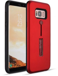 1ec4af7618faa Samsung Galaxy S8 Matte Shockproof Ring Stand PC+TPU Back Case Cover - red