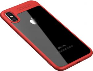 Apple iPhone X Ipaky PC Back Case Cover - Clear & Red