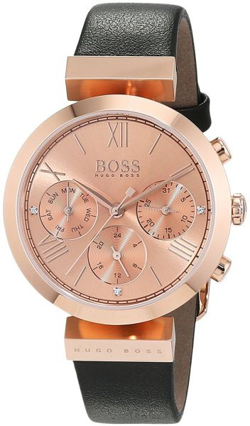441a75bd3 hugo boss Classic Sport Women's Rose Gold Dial Leather Band Watch ...