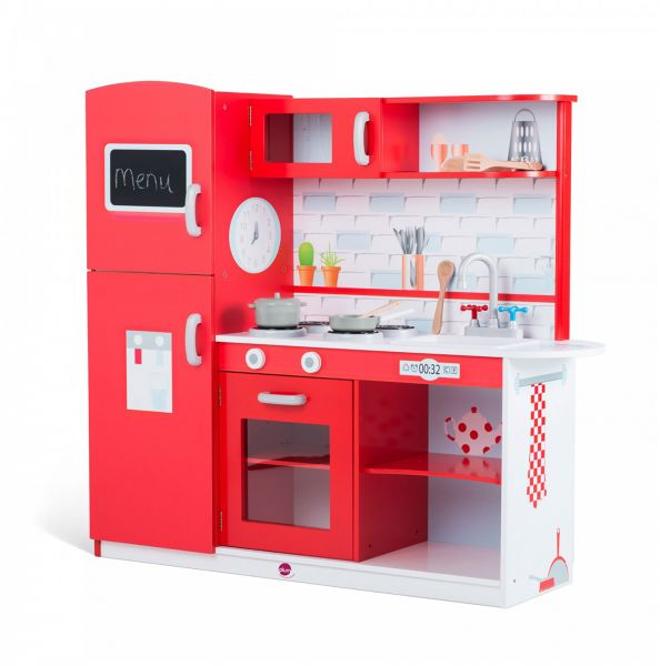Awesome Plum UK Terrace Wooden Kitchen Play Set, Red Apple