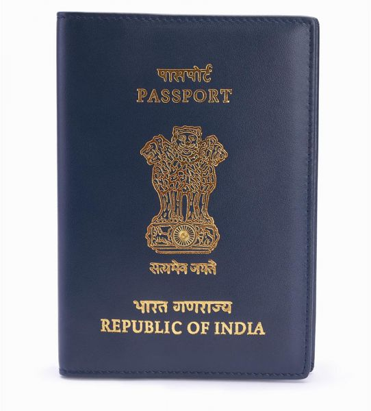 Mosafer Leather INDIAN Passport Cover - Blue