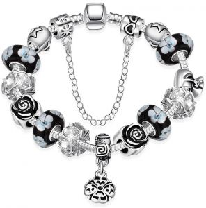 European style Bracelet For Women With Black Glass Beads,PDRH014