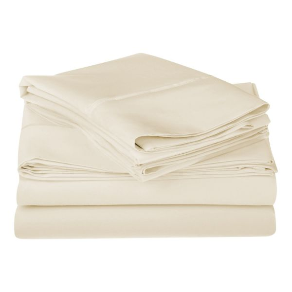 1200 Thread Count Premium Egyptian Cotton, Single Ply, Bed Sheet Set,  Solid, California King Ivory 1200CKSH SLIV