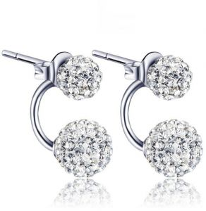 8mm Unisex Women Shamballa Premium Crystal 925 Sterling Silver Ear Stud Earring Disco Ball,WISH026