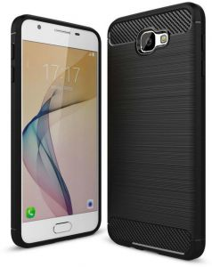 Samsung J7 Prime TPU Back Case Rugged Armor Rubber - Black