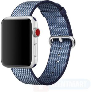 Sports Royal Woven Nylon Wrist Band Strap Bracelet For Apple Watch 38mm Midnight Blue Check