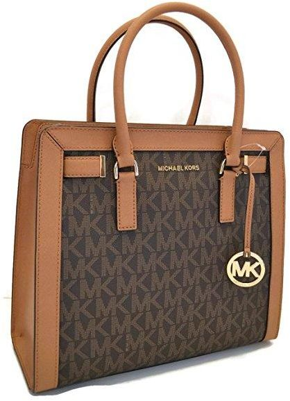 ff19ebf65728 Michael Kors Dillon Monogram Small Satchel /Crossbody Bag Brown ...