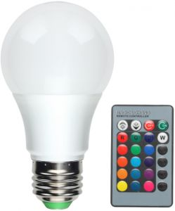 3W RGB LED Bulb Light E27 Dimmable Bulb Multicolor Changeable + IR Remote  controller