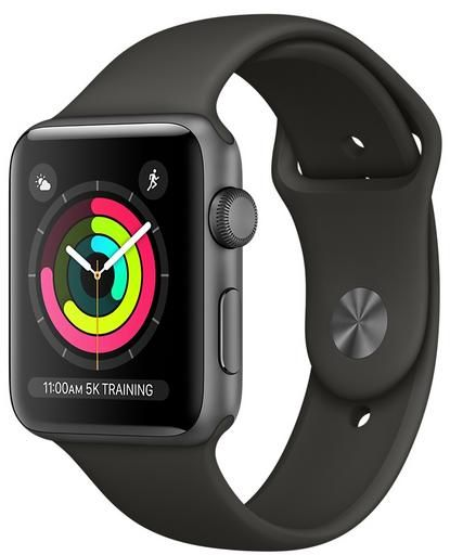 Apple Watch Series 3 - 42mm Space Gray Aluminum Case with Gray Sport Band,  GPS, watchOS 4, MR362