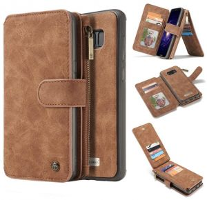 Multifunction phone case for Apple Iphone 8 Plus anti fall cover with 14 Card Slots and wallets Brown