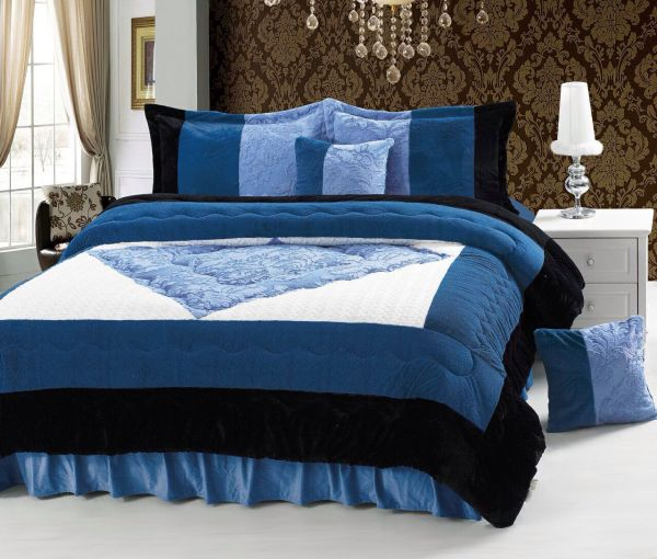 Luxury Winter 6 Piece Comforter Set King Size Blue Souq Uae