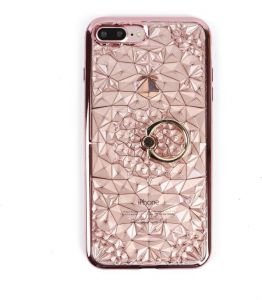 Iphone 7 diamond case women Silicone soft clear TPU cover stand ring back  shell anti fall shockproof protective sleeve rose gold 1fa4fd7eb5