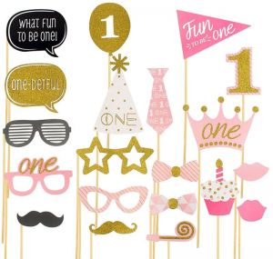 What Fun To Be One Photo Booth Props On A Stick Pink Baby Shower Girl First Birthday Party Decoration Favor Gifts
