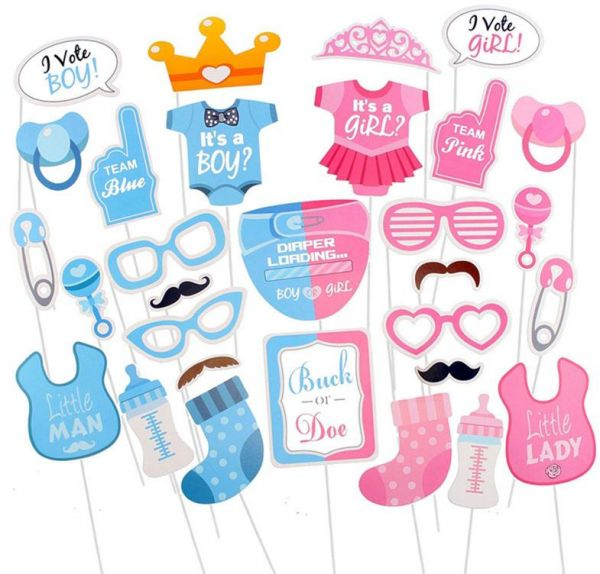 Boy Or Girl Photo Booth Props Baby Shower Party Decoration Pregnancy