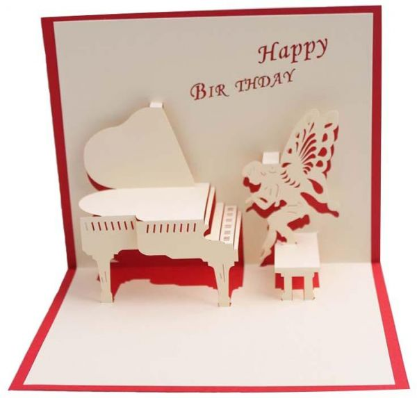 Happy Birthday Postcard Greeting Gift Cards Blank Paper 3D Piano