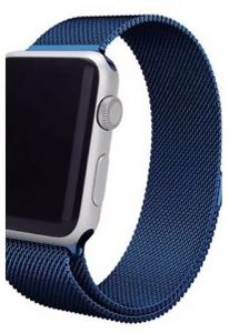 Stainless Steel Band Strap with Screen Protector for 38mm Apple Watch, Blue
