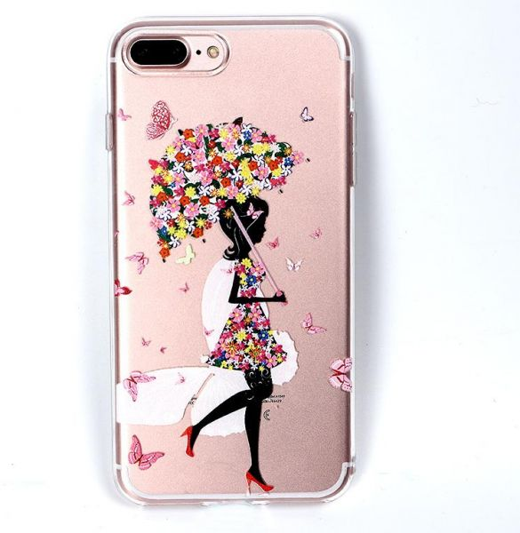 low priced bf527 1e0d5 Iphone 8 ultra-thin silicone painted back cover cartoon women girl Fashion  stylish relief TPU case phone shell