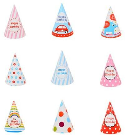 10pcs Sweet Pink Butterfly Car Boys Girls Happy Birthday Party Paper Cone HatsLODP027