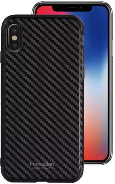 timeless design 8996b c6984 WK Design Innovative Carbon Fiber Case Cover with Screen Protector for  iPhone X