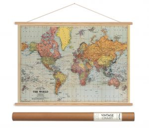 World map vintage style charcoal poster print cavallini papers cavallini papers stanfords world map vintage style decorative poster hanger kit 28 x 20 gumiabroncs Gallery