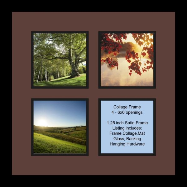 Arttoframes Collage Photo Frame Double Mat With 4 6x6 Openings And