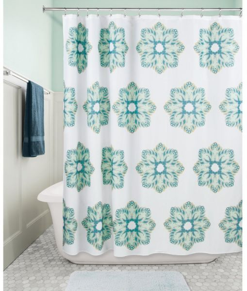 InterDesign 65420 Henna Medallion Fabric Shower Curtain