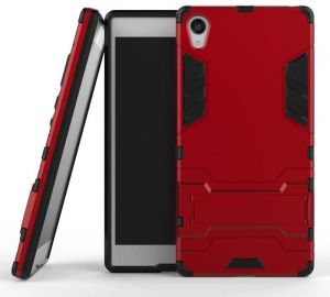 Sony Xperia Z5 Premium -Hard Shockproof Hybrid Armor Stand Phone Case Cover Red
