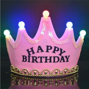 Happy Birthday Princess Crown LED Light Up Luminous Hat Cap Party HatDP027