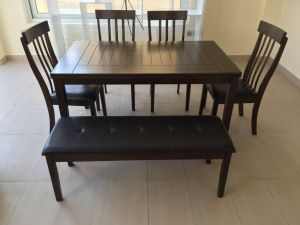 Dining Table 4 Sitter With Chairs And Bench Brown