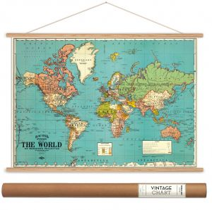 World map vintage style charcoal poster print cavallini papers cavallini papers bacons world map vintage style decorative poster hanger kit 28 x 20 gumiabroncs Choice Image