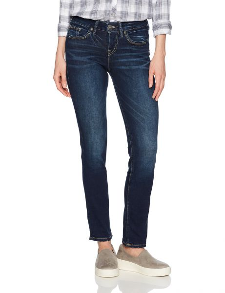 0eb69bef Silver Jeans Women's Avery Curvy Fit High-Rise Straight Leg Jeans ...