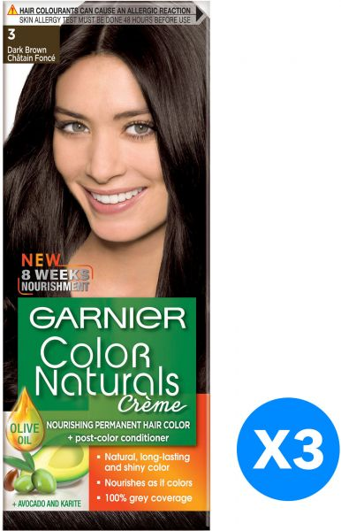 Garnier Color Naturals Creme Hair Dye - 3 Dark Brown, Pack of 3 ...