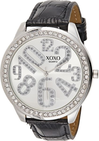 Buy xoxo women 39 s silver dial leather band watch xo3284 watches uae souq for Watches xoxo